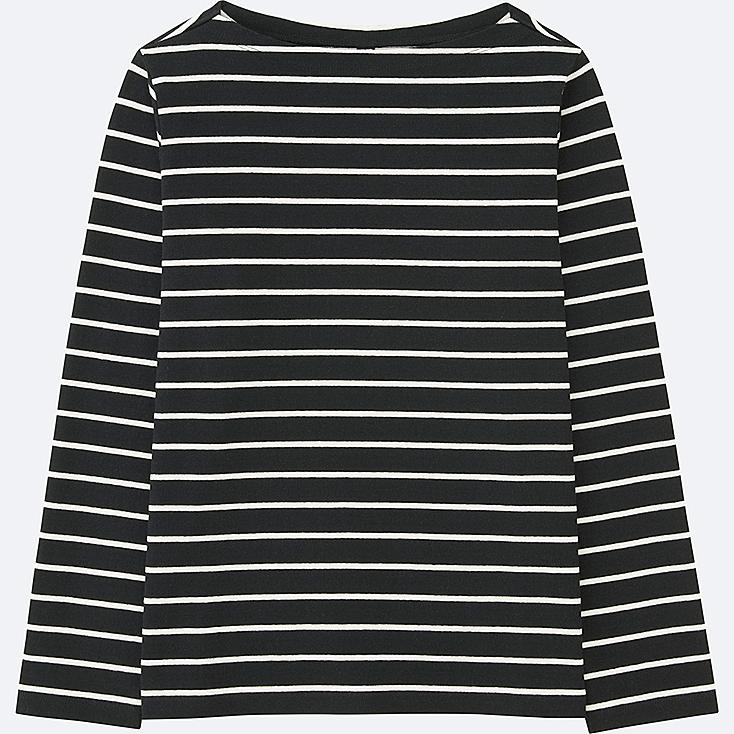 WOMEN STRIPED BOAT NECK LONG-SLEEVE T-SHIRT | Tuggl