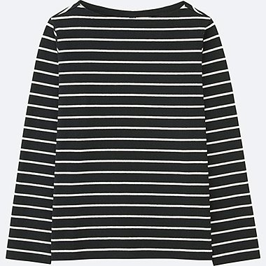 WOMEN STRIPED BOAT NECK LONG-SLEEVE T-SHIRT, BLACK, medium