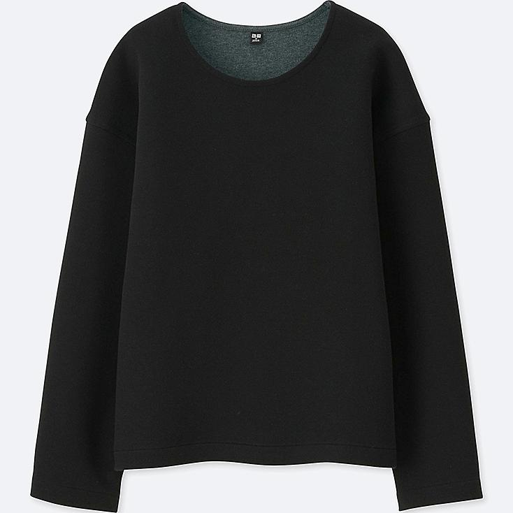 WOMEN DOUBLE FACE LONG-SLEEVE PULLOVER, BLACK, large