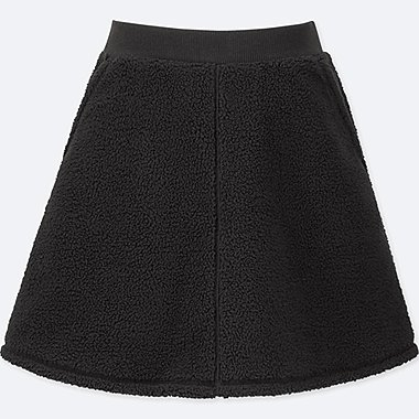 GIRLS FLEECE FLARE SKIRT, BLACK, medium