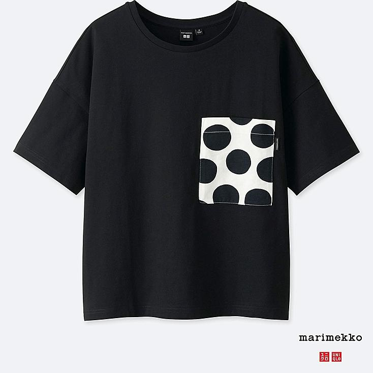 WOMEN MARIMEKKO SHORT-SLEEVE GRAPHIC T-SHIRT, BLACK, large