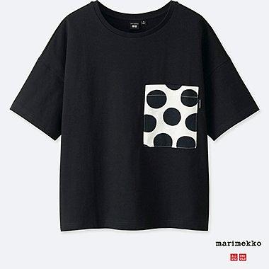 WOMEN MARIMEKKO SHORT-SLEEVE GRAPHIC T-SHIRT, BLACK, medium