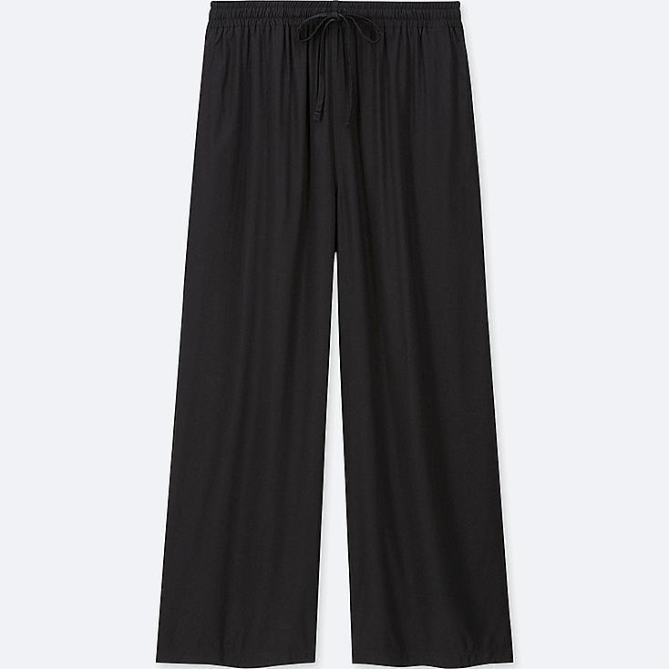 WOMEN DRAPE WIDE PANTS, BLACK, large