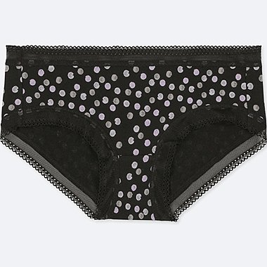 WOMEN DOT-PRINT HIPHUGGER, BLACK, medium