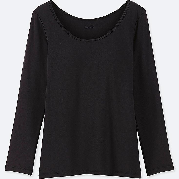 GIRLS HEATTECH LONG-SLEEVE BRA TOP, BLACK, large