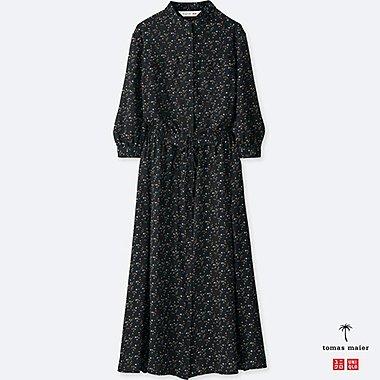 WOMEN Tomas Maier CHIFFON PRINTED LONG SLEEVE DRESS