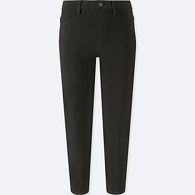 WOMEN CROPPED LEGGINGS PANTS, BLACK, medium