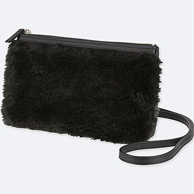 FAUX SHEARLING SHOULDER BAG, BLACK, medium