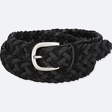 MEN LEATHER SUEDE MIX MESH BELT, BLACK, medium