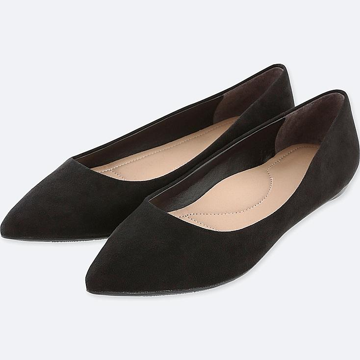 WOMEN POINTED FAUX SUEDE FLAT SHOES, BLACK, large