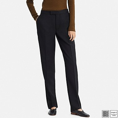 WOMEN UNIQLO U WOOL BLENDED STRAIGHT TROUSERS