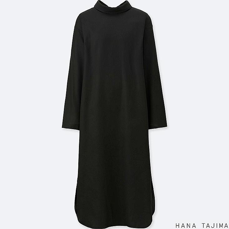 WOMEN MOCK NECK LONG-SLEEVE DRESS (HANA TAJIMA), BLACK, large