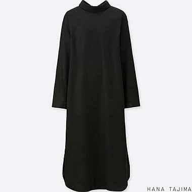 WOMEN HPJ MOCK NECK LONG-SLEEVE DRESS, BLACK, medium