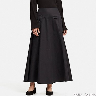 WOMEN HPJ FLARED LONG SKIRT, BLACK, medium