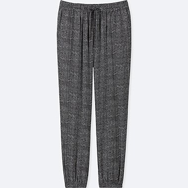 WOMEN DRAPE HERRINGBONE JOGGER PANTS, BLACK, medium