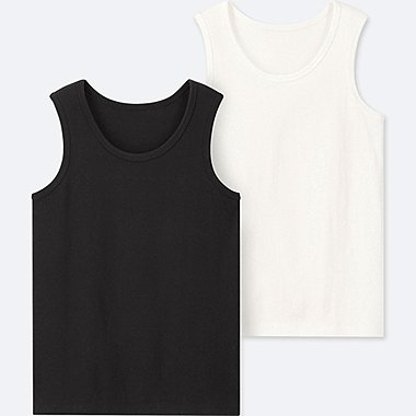 KIDS COTTON INNER TANK TOP (SET OF 2), BLACK, medium