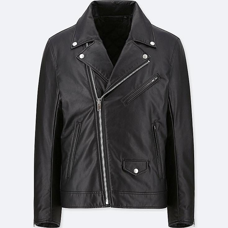 MEN FAUX LEATHER DOUBLE-BREASTED JACKET, BLACK, large
