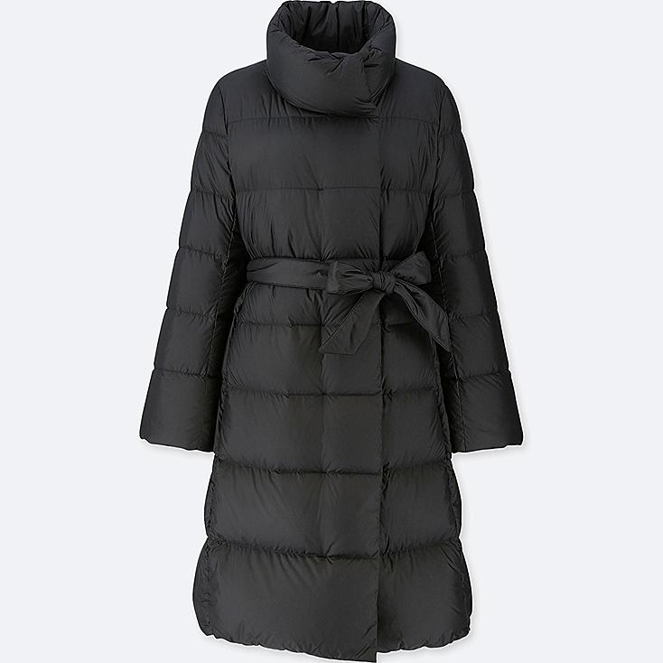 WOMEN LIGHTWEIGHT DOWN STAND COLLAR COAT, BLACK, large