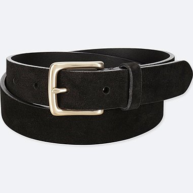 MEN ITALIAN LEATHER SUEDE BELT, BLACK, medium