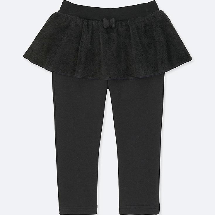 TODDLER PILE-LINED SKIRT PANTS, BLACK, large