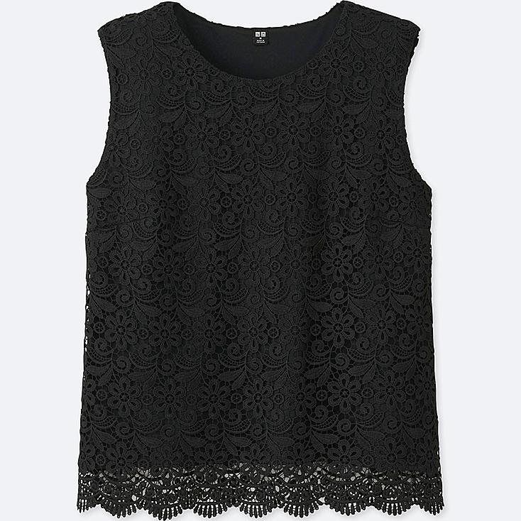 WOMEN LACE SLEEVELESS T-SHIRT (ONLINE EXCLUSIVE), BLACK, large