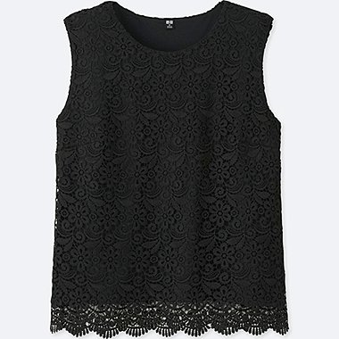 WOMEN LACE SLEEVELESS T-SHIRT (ONLINE EXCLUSIVE), BLACK, medium