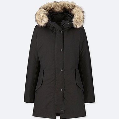 WOMEN NON-QUILTED DOWN HOODED SHORT COAT