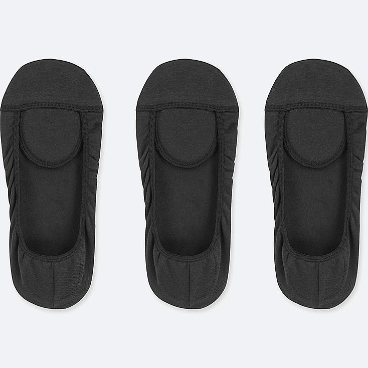 WOMEN SQUARE CUT FOOTSIES (3 PAIRS), BLACK, large