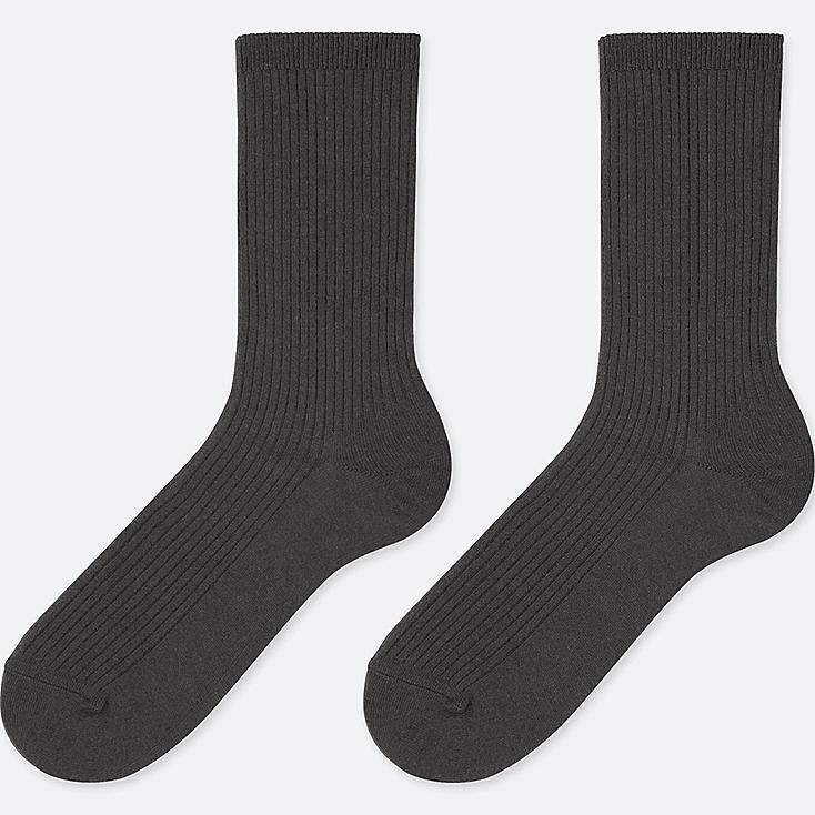 WOMEN HEATTECH RIBBED SOCKS (2 PAIRS), BLACK, large
