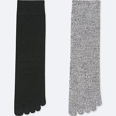 WOMEN HEATTECH FINGER SOCKS (2 PAIRS) (ONLINE EXCLUSIVE), BLACK, medium