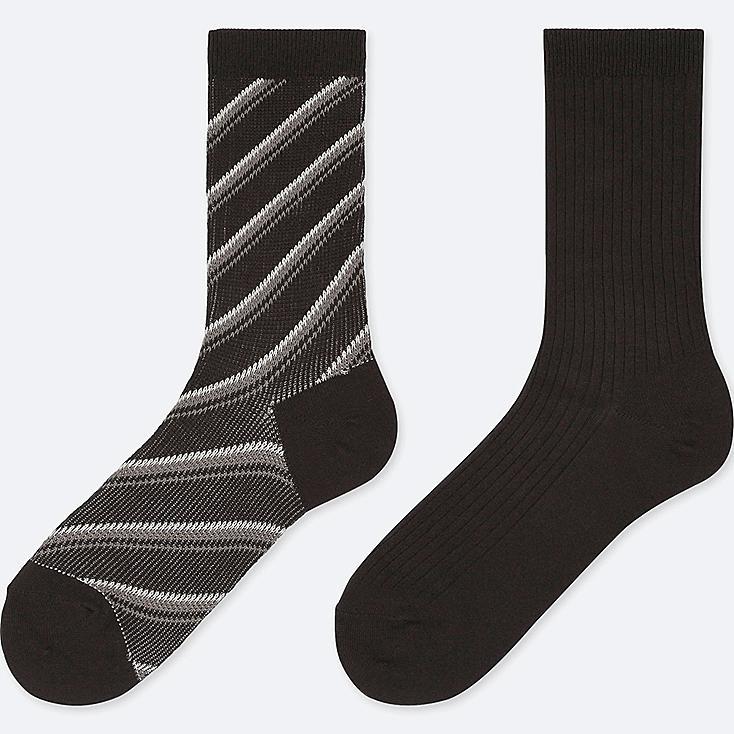 WOMEN HEATTECH STRIPED SOCKS (2 PAIRS), BLACK, large