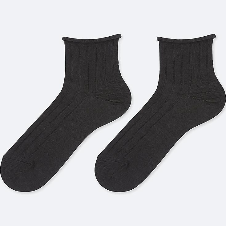 WOMEN HEATTECH CREW TOP ROLL SOCKS (2 PAIRS), BLACK, large