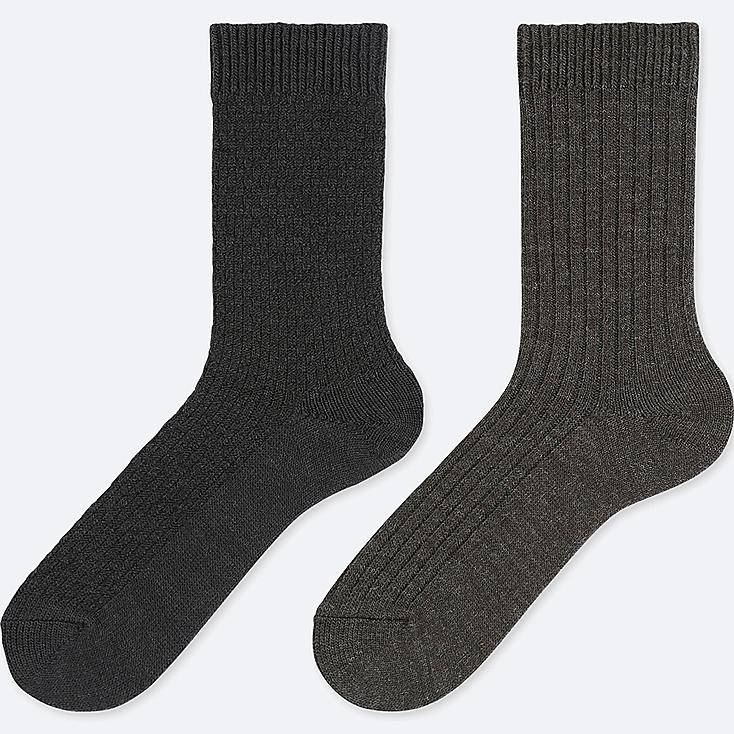WOMEN HEATTECH PIQUE SOCKS (2 PAIRS), BLACK, large