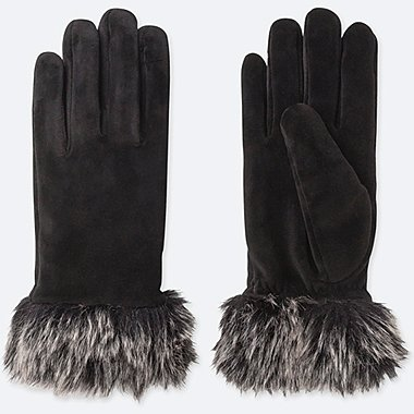 WOMEN HEATTECH FAUX SHEARLING CUFFS GLOVES, BLACK, medium
