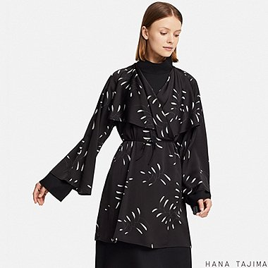 WOMEN WRAP PRINTED LONG-SLEEVE TUNIC (HANA TAJIMA), BLACK, medium