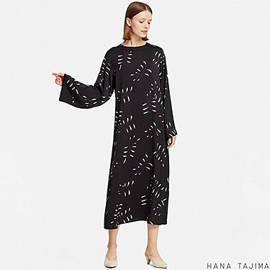 WOMEN HPJ FLARE PRINTED LONG SLEEVE LONG DRESS