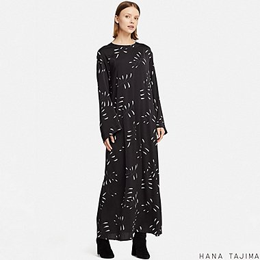 WOMEN HPJ FLARE PRINTED LONG-SLEEVE LONG DRESS, BLACK, medium