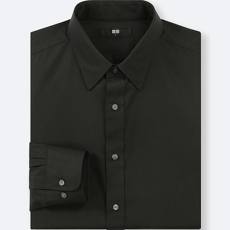 MEN EASY CARE BROADCLOTH REGULAR-FIT SHIRT, BLACK, large