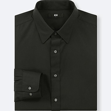 MEN EASY CARE BROADCLOTH REGULAR-FIT SHIRT (ONLINE EXCLUSIVE), BLACK, medium