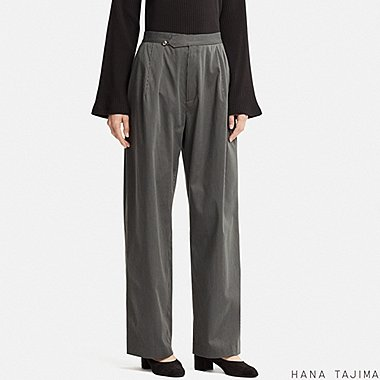 WOMEN STRIPED WIDE PANTS (HANA TAJIMA), BLACK, medium