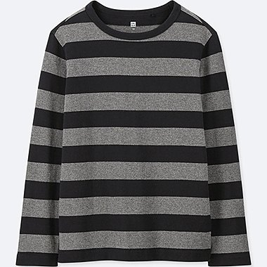 KIDS STRIPED LONG-SLEEVE T-SHIRT, BLACK, medium