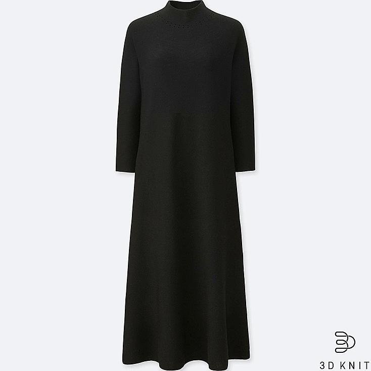 WOMEN 3D MERINO MOCK NECK LONG-SLEEVE DRESS, BLACK, large