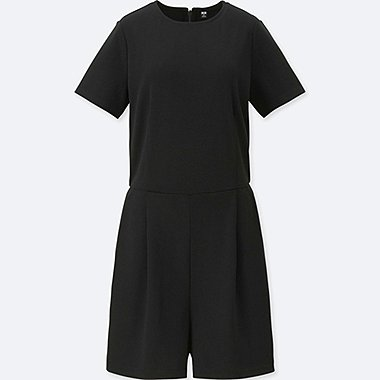 WOMEN PONTE SHORT-SLEEVE ROMPER (ONLINE EXCLUSIVE), BLACK, medium