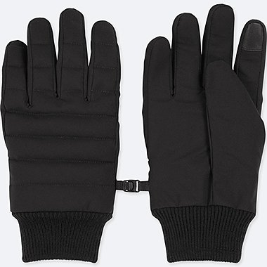 MEN HEATTECH-LINED QUILTED GLOVES, BLACK, medium
