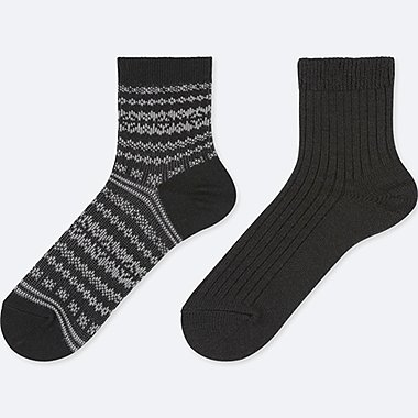 WOMEN HEATTECH SOCKS (2 PAIRS/CREW FAIRISLE)