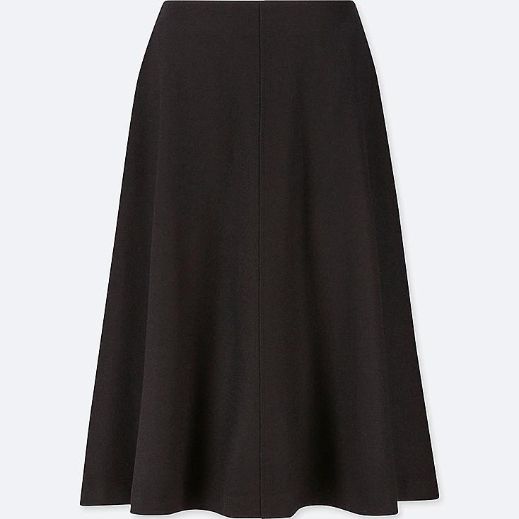 WOMEN WOOL-BLEND HIGH-WAISTED FLARED SKIRT, BLACK, large