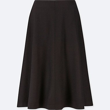 WOMEN WOOL-BLEND HIGH-WAISTED FLARED SKIRT, BLACK, medium