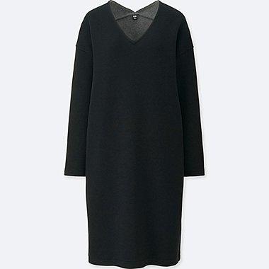 WOMEN DOUBLE FACE V NECK LONG SLEEVE DRESS