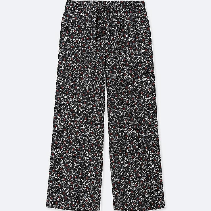 WOMEN FLORAL-PRINT DRAPE WIDE PANTS, BLACK, large