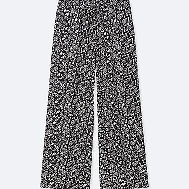 WOMEN FLORAL-PRINT DRAPE WIDE PANTS, BLACK, medium